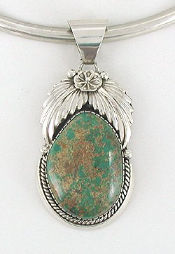 Royston Turquoise Pendant Native American Navajo Sterling