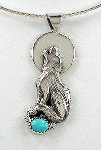 Authentic navajo sterling silver pendant howling wolf with turquoise authentic native american navajo sterling silver howling wolf turquoise pendant mozeypictures Choice Image