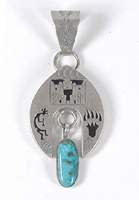 Authentic Native American Native American Sterling Silver ShadowboxTurquoise pendant by Navajo artist Jeff James Jr.