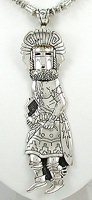 Authentic Native American Sterling Silver Kachina pendant by Navajo silversmith Tommy Singer