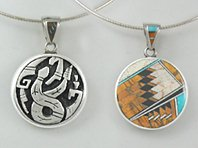 Sterling Silver reversible snake and inlay pendant
