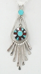 Native American Zuni Indian Jewelry; Navajo Sterling Silver inlay Pendant