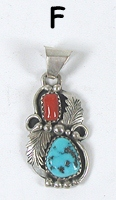 Sterling Silver Native American Navajo turquoise and coral pendant