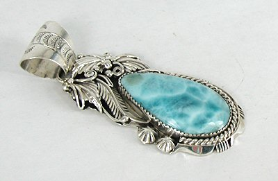 Authentic navajo larimar pendant by larry chavez native american authentic navajo sterling silver larimar pendant aloadofball Image collections
