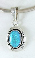Authentic Native AmericanNavajo  Blue Opal Pendant by Running Bear Trading Company