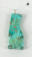 Authentic Native American  antler bear pendant by Zuni Claudia Peina