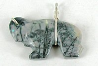 Authentic Native American Sterling Silver and Picasso Marble Buffalo Pendant by Zuni Everett Pino