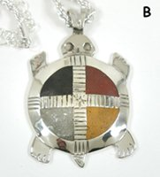 Authentic Native American Four Colors Turtle Pendant by Lakota artist Mitchell Zephier