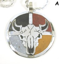 Authentic Native American Four Colors Medicine Wheel Shield Pendant by Lakota artist Mitchell Zephier