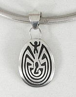 Authentic Native American Sterling Silver Man in a Maze pendant by Navajo silversmith Stanley Gene