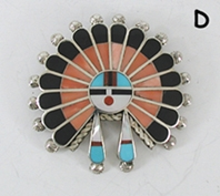 Authentic Native American Inlay Sunface Pin Pendant by Zuni artist April Ukestine