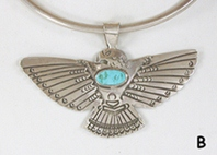 Sterling silver and turquoise eagle pendant by Yaqui artist Art Tafoya