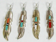 Navajo Sterling Silver and stone inlay feather pendant charms by Freddy Barney