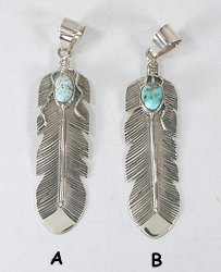June Defauto Navajo Feather Pendant with Dry Creek turquoise