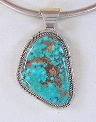 Authentic Native American Kingman Turquoise Pendant by Navajo John Nelson