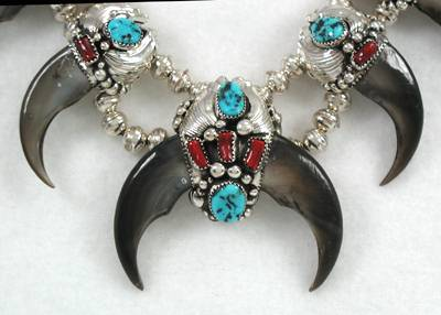 Native American Sterling Silver Turquoise Bear Claw Pendant