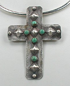 Large cross pendants of sterling silver turquoise coral native american navajo indian repousse antiquied cross pendant aloadofball Gallery