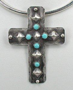 Large cross pendant native american navajo turquoise sterling silver native american navajo indian repousse antiquied cross pendant aloadofball Image collections