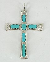 Native American Zuni Turquoise Cross Pendant