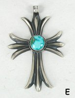 Authentic Native American Sterling Silver and Turquoise Cross pendant by Zuni Harrison Bitsui