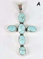 Authentic Native American Sterling Silver and Dry Creek Turquoise Cross pendant by Navajo Sherry Lee