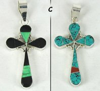 Authentic Native American Sterling Silver stone inlay Reversible Cross Pendant by Navajo Edison Yazzie