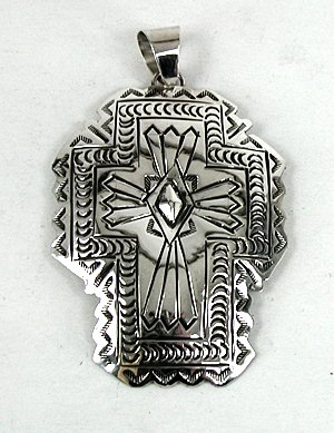 Authentic native american large cross pendant stamped sterling authentic native american large cross pendant stamped sterling silver by carson blackgoat navajo aloadofball Gallery