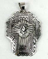 Authentic Native American Large Cross pendant stamped Sterling Silver by Carson Blackgoat Navajo