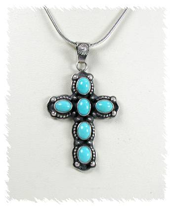Derrick gordon navajo cross pendant and chain sterling silver turquoise hand made native american indian jewelry navajo sterling silver turquoise cross aloadofball Images