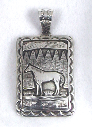 Sterling silver navajo horse mural pendant for Mural jewellery