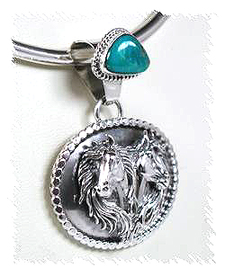 Mural Jewellery Of Authentic Navajo Sterling Silver Horse Mural Pendant