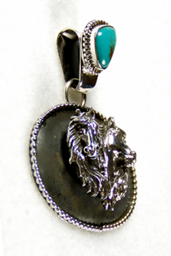 Sterling silver navajo 3 d horse mural pendant made by for Mural jewellery