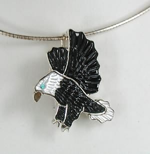 Native american eagle pin pendant andrea lonjose shirley navajo native american eagle pin pendant navajo indian jewelry navajo sterling silver stone inlay mozeypictures Gallery