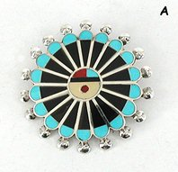 Authentic Native American Sunface pin pendant by Zuni Adrian Wallace