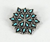 Authentic Native American Zuni Indian Sterling Silver turquoise Petit Point pin pendant by Arlita Lahi