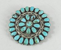 Sterling Silver and turquoise Petit Point pin pendant