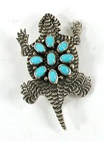 Authentic Native American Sterling Silver and turquoise horned frog pin pendant by Navajo Lee Charley