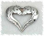 Authentic Native American Sterling Silver heart-shaped horse pin by Navajo Lee Charley