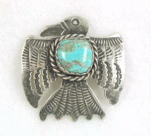 Albert Cleveland Navajo Eagle Pin Sterling Silver And