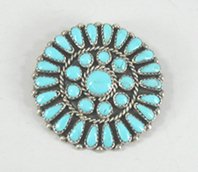 Authentic Native American Navajo Indian Sterling Silver turquoise Petit Point Pin by Danny L. Wauneka