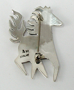 Hand made Native American Indian Jewelry; Navajo Sterling Silver horse pin pendant