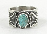 Authentic Native American Sterling Silver Turquoise ring size 9 3/4 by Navajo Sunshine Reeves