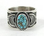 Authentic Native American Sterling Silver Turquoise ring size 7 by Navajo Sunshine Reeves