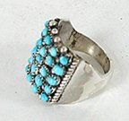 Authentic Native American Sterling Silver Turquoise Snake Eye ring by Zuni April Haloo