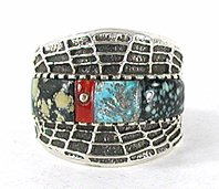 Authentic Native American Sterling Silver Turquoise ring size 11 1/2 by Navajo Philander Begay
