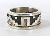 Authentic Native American sterling silver Blanket Pattern ring by Navajo Dan Jackson