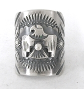 Authentic Native American sterling silver Eagle ring by Navajo Delbert Gordon