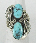 Authentic Navajo Sterling Silver turquoise ring size 6 1/4 by Peterson Johnson