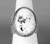 Authentic Navajo Sterling Silver white buffalo stone cigar band ring size10 1/2 by Tony Garcia