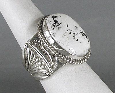 Navajo White Buffalo Stone Sterling Silver Ring Size 10 1 4 By Tony Garcia